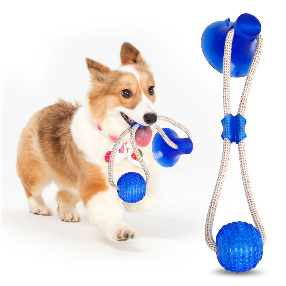 Multifunction Pet Molar Bite Dog Toy Rubber Chew Ball Cleaning Teeth Safe Elasticity TPR Soft Puppy Suction Cup Biting Toy