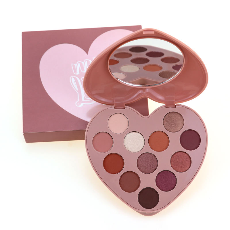 New Arrival Heart Shade Pink Eyeshadow Palette 12 Color Custom High Pigment Eyeshadow