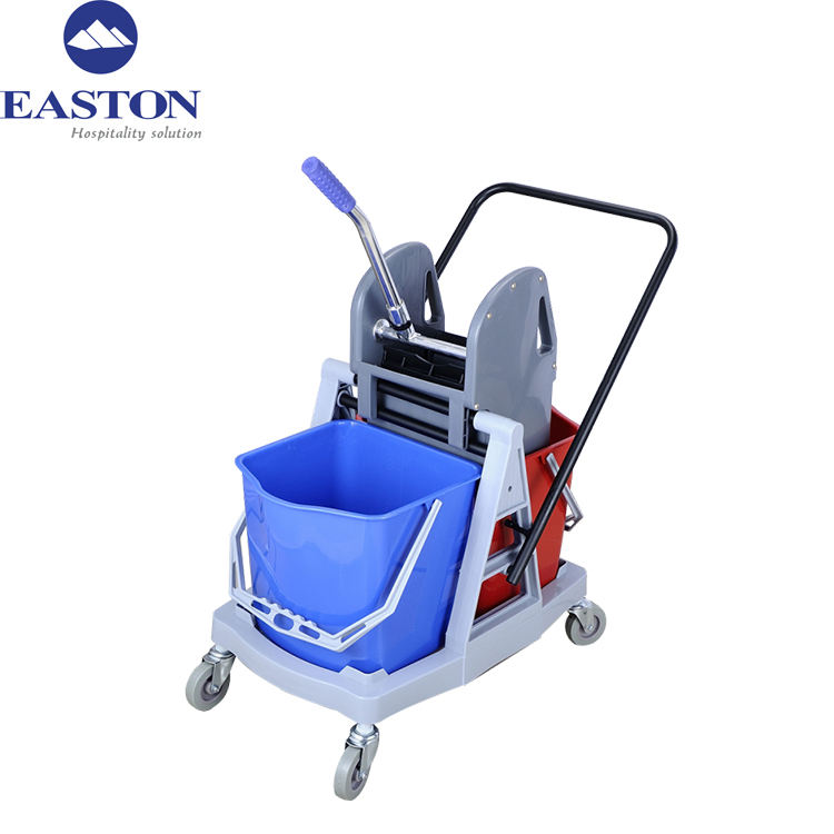 34L novelty plastic double bucket wringer trolley cleaning cart for hotel
