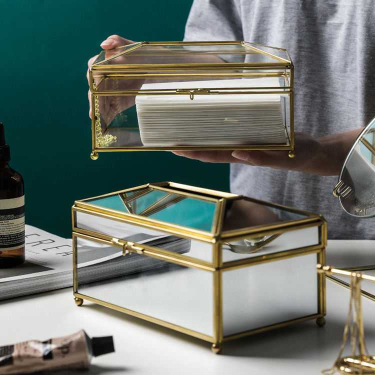 Tissue Box New Modern Home Decorative Container Luxury Gold Facial Car Holders Cover Metal Glass Mirror Acrylic Paper Tissue Box