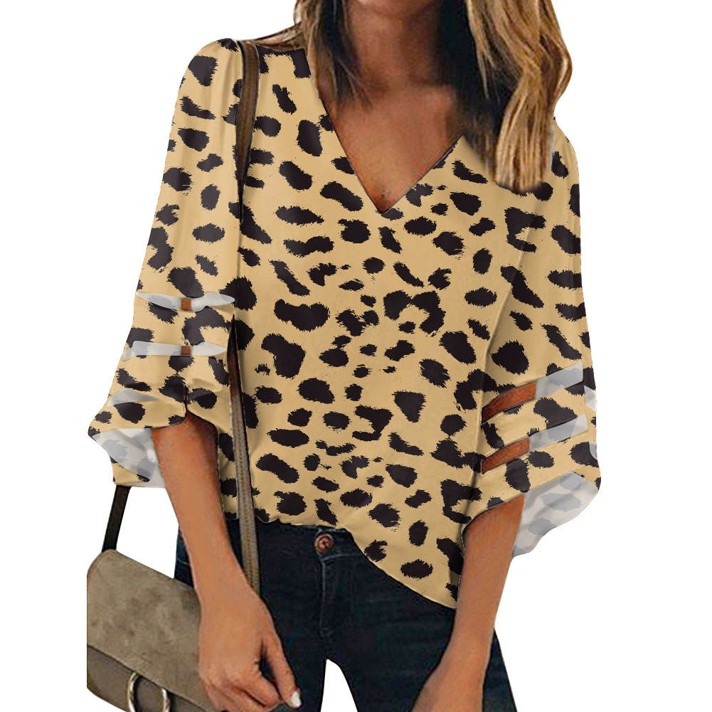High Quality Leopard Print Ladies' Blouses & Tops Customize Pattern Elbow Half Sleeve Casual Loose Women's Chiffon Shirt