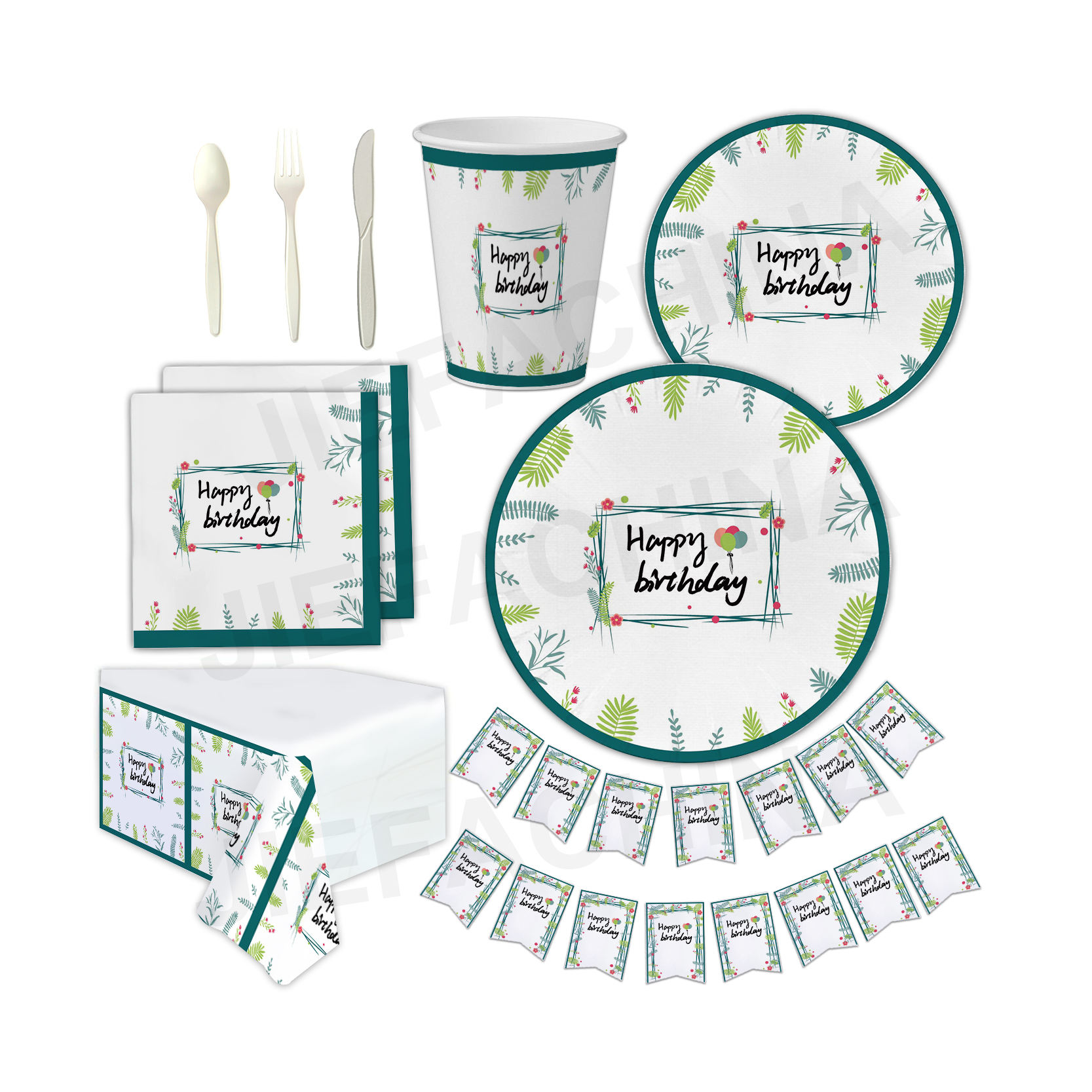 Hawaii Luau Summer and Birthday Party Supplies Serves 24 Includes Plates, Knives, Spoons, Forks, Cups and Napkins