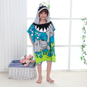 Custom Kids Swim Shark Cartoon Printing Microfiber Hooded Poncho Beach Towel Bathrobe