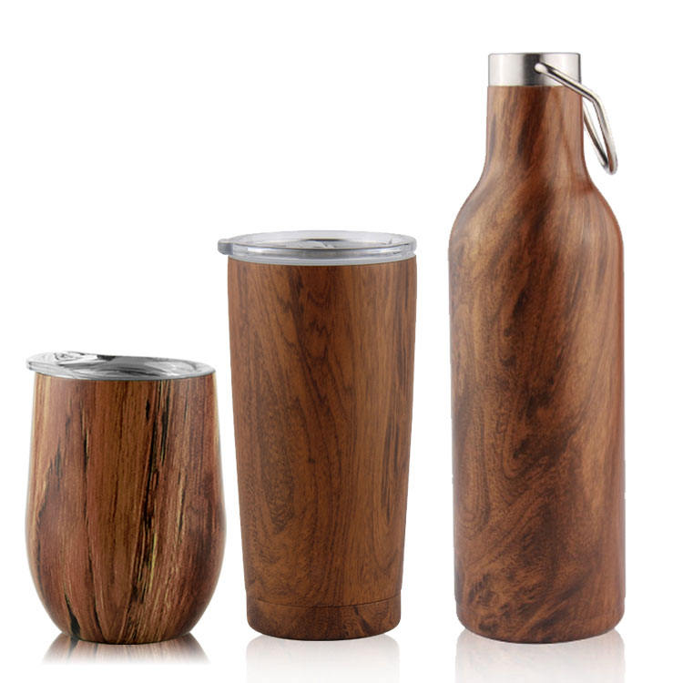 Wooden Wine Tumbler Stainless Steel 304 Insulated Coffee Mug Vacuum Stemless Steel Bottle With with Proof Sliding Lid Travel Mug