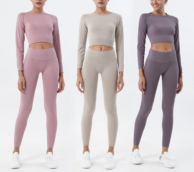 Women Yoga Set Long Sleeve Crop Top Seamless Leggings Workout Pants Gym Set High Waist Sport Clothing Fitness Suits