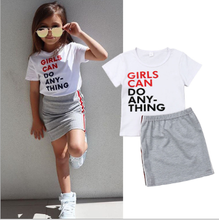 Enviable Summer Infant Kid Girls Clothes Fashion Printed Letter Short Sleeve T shirt+Shorts Skirt Girls Outfits Clothing Set