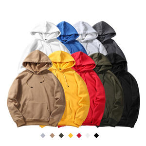 Autumn winter large size printing custom fleece 9 color solid blank plain unisex cheap pullover hoodies sweatshirts