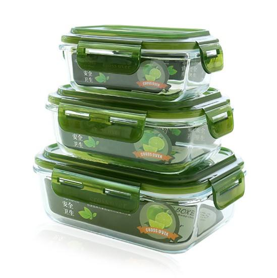 1040ML Round And Square Office Workers Can Heat And Insulate Glass Lunch Box Students Glass Fresh Lunch Bento Box