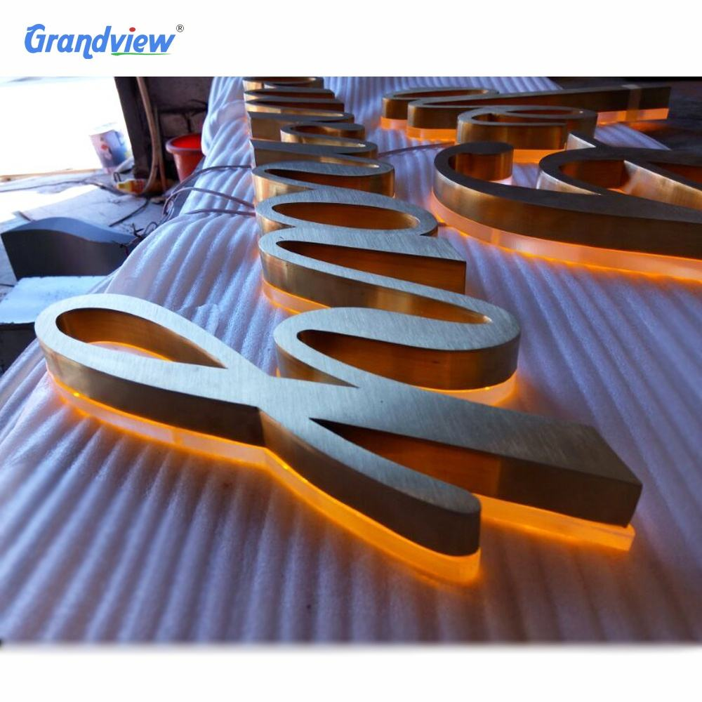 24h lighting advertising illuminated signage metal backlit letter