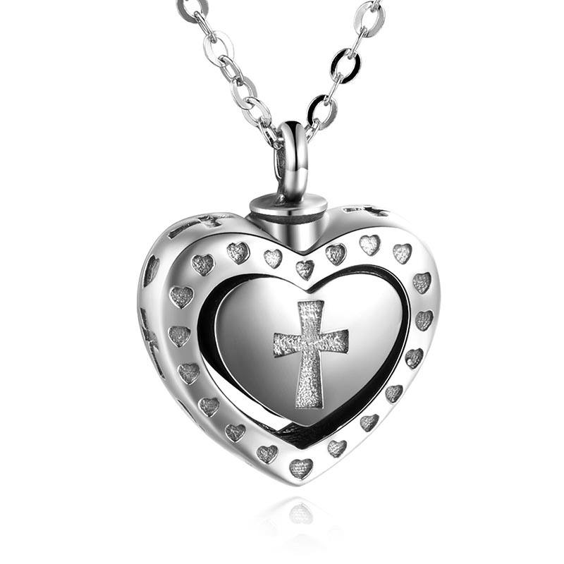 ATHENAA Heart Jewelry 925 Sterling Silver Cross cremation Pendant Cinerary Casket Necklaces Kinsfolk Souvenir Joyas De Plata