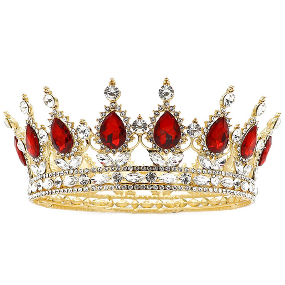 NeeFu WoFu Glorious Simulated Red Ruby Crystal Pageant Full Circle Crowns Bridal Gold Tiaras Multicolor rhinestone Crown