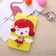 Yiwu Guangcui Wholesale custom acrylic mirror girl credit badge card holder key ring