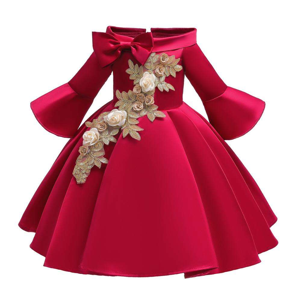 Children middle sleeve princess girl red dress