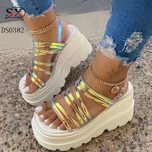 Fashion Women Ladies Reflective High Heel Platform Shoes Sandals