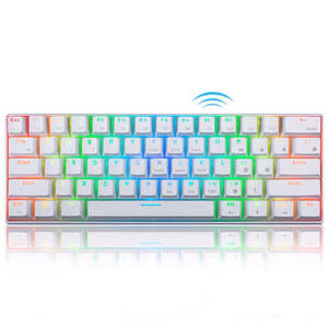 Keyboard Gaming Mekanik 60% RGB, Kompak Kecil 61 Tombol Berkabel/Bluetooth Mini Portabel