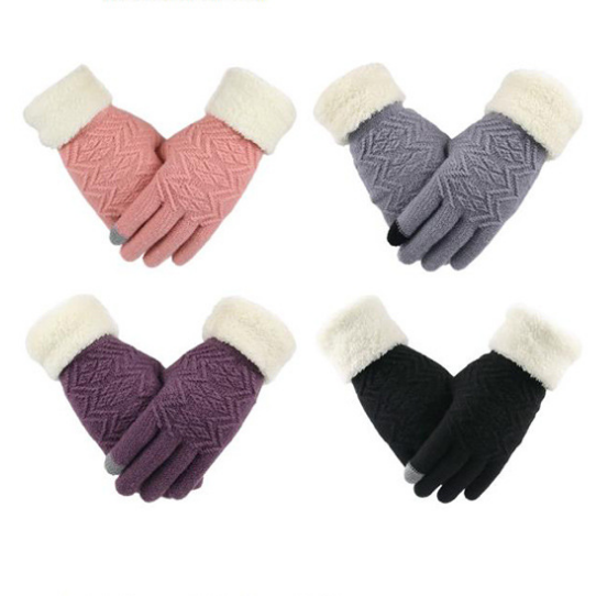 New Style Thicken Plush Lining Warm Soft Knitted Cycling Touch Screen Winter Gloves for Women