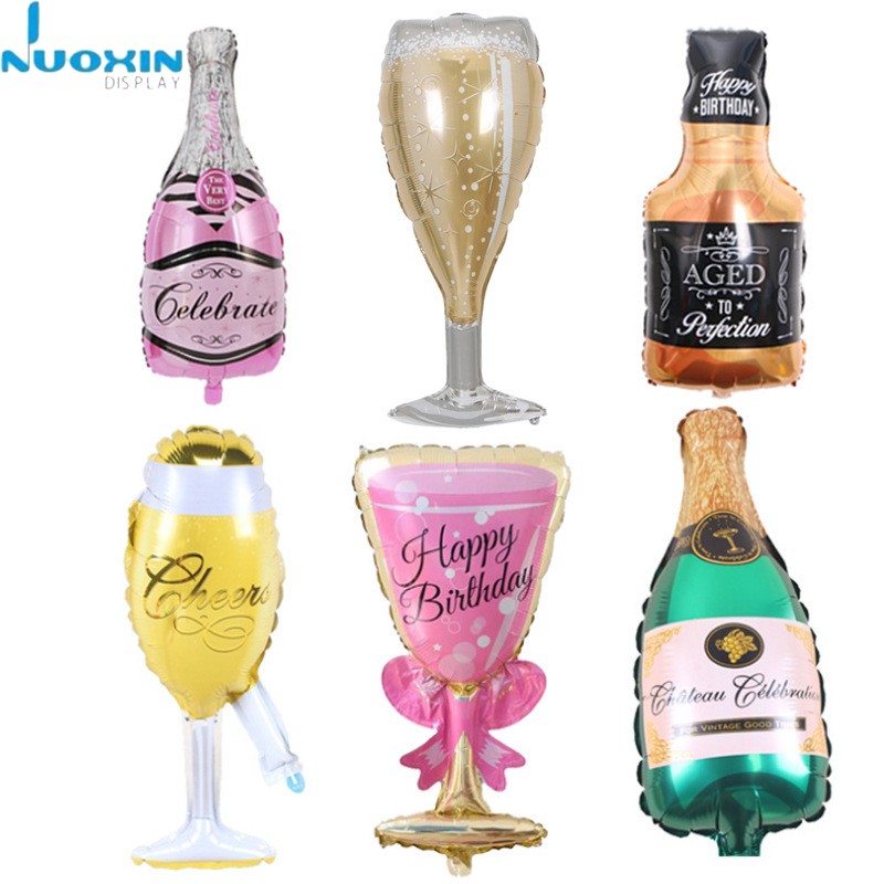 Champagne Bottle and Goblet Hydrogen Mini Happy Birthday Foil Balloon for Wedding Birthday Party
