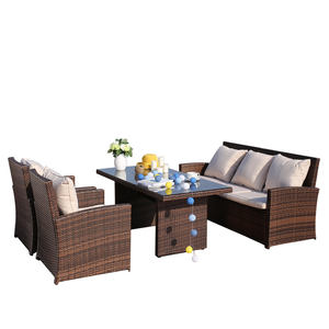 outdoor patio rattan sofa garden rattan table and chairs furniture modern luxury wicker sofa set 5 seater with table