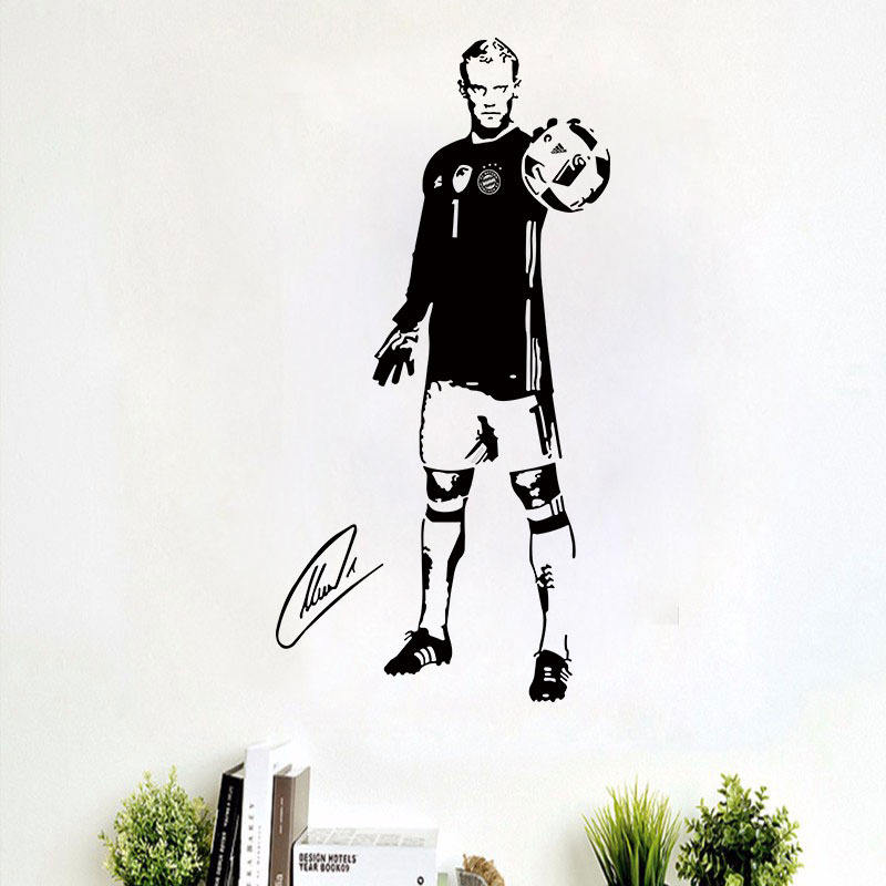 New football star Neuer bedroom wall stickers for living room removable factory wholesale custom room walls decoration