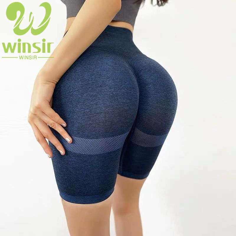 Athletic Apparel Manufacturer 2020 Women Gray Nylon Seamless Contour High Waisted Gym Sports Wear Carry buttock Yoga Shorts