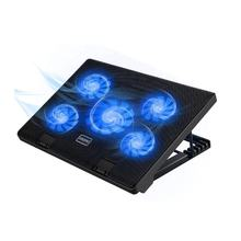 MoKo Laptop cooler 5 silent fans usb laptop cooling pad ajustable gaming notebook cooler for laptop up to 17 inch