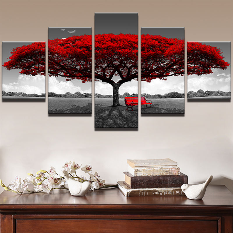 Modern Canvas Pictures HD Prints 5 Pieces Red Tree Red Bench Landscape Living Room Home Decor Wall Artwork Painting Poster