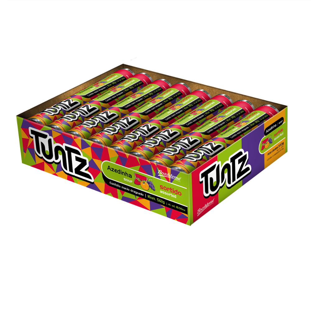67524 - Tuntz Assorted Glazed Chewy Candy 32g x 16un x 18 displays