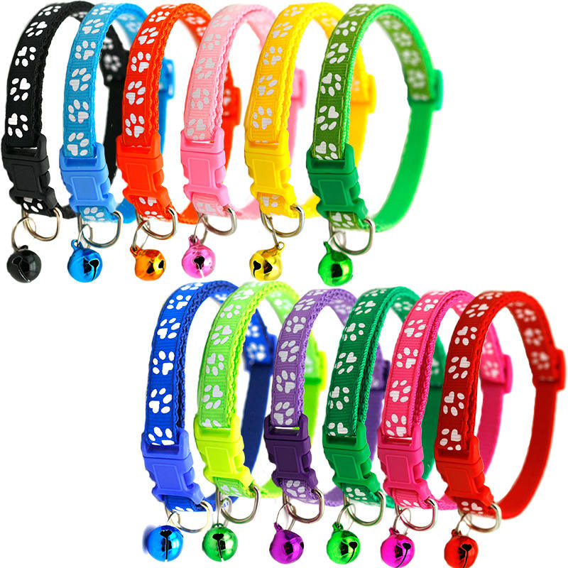 Manufacturer wholesale multi-colors paw print adjustable nylon cat dog collar with bell