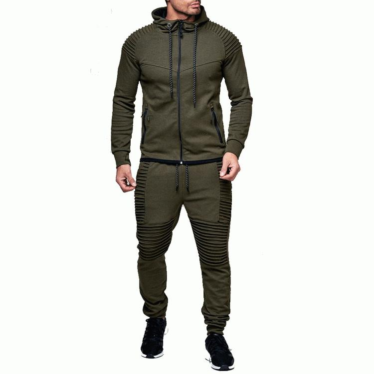 High Quality Custom Plain Polyester Combed Fitness Long Sleeve Mens Tracksuits