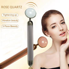 Wholesale nature green/pink/black stone rose quartz tools electric vibrating massage face jade roller