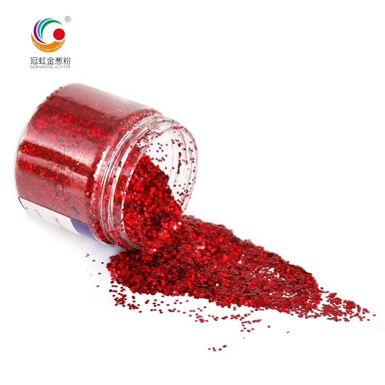 GH1200 Wholesale Bulk Red Laser Glitter PET Hexagonal Holographic Glitter Powder For Nails Cosmetic Craft Glitter
