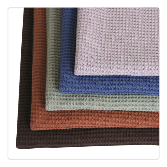 High quality 100%cotton knitted waffle fabric