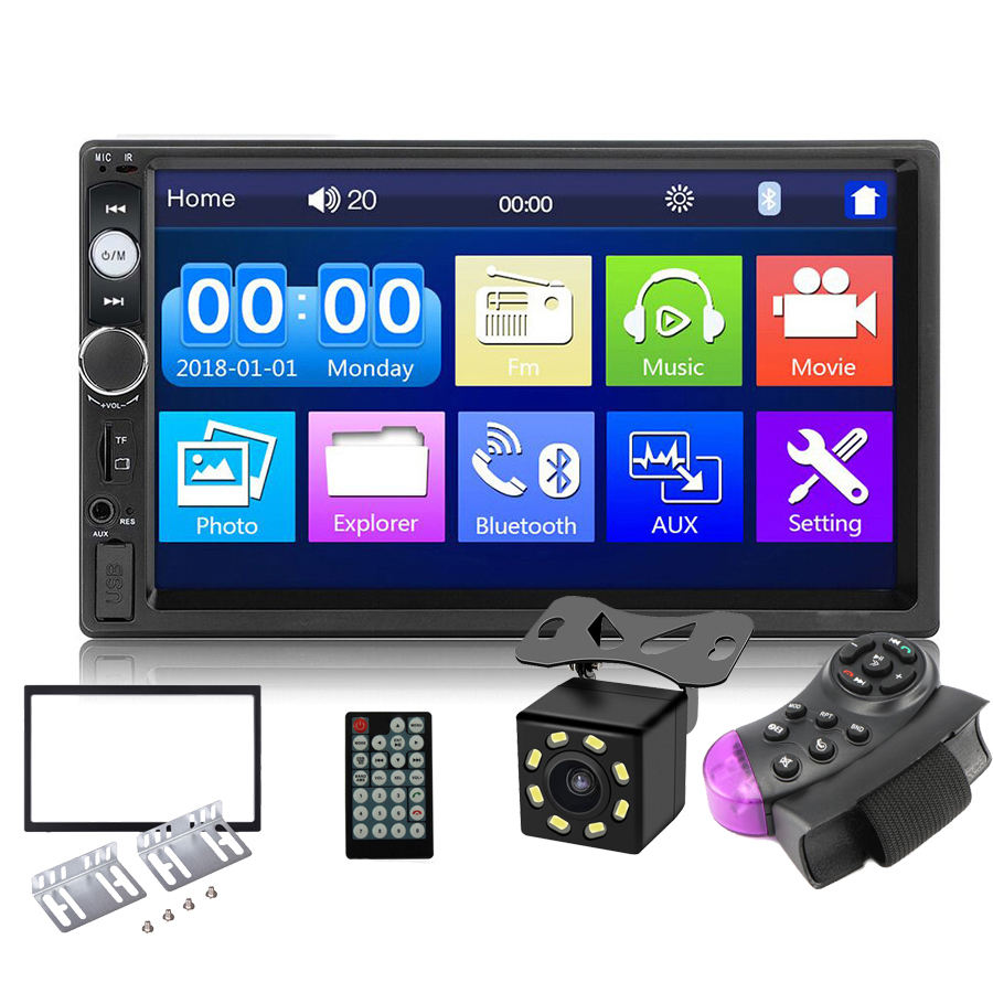 "7010b 2 Din Stereo Receiver 2din Car Radio Autoradio 7"" Hd Touch Screen 12v Car Stereo Player Mirror link Bluetooth Rear Camera"