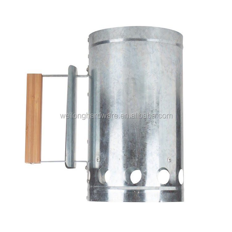 Metal Galvanized Barbecue Chimney Starter Quick Start BBQ Grill Charcoal Burner Lighter Barbecue Starter Fire Starter