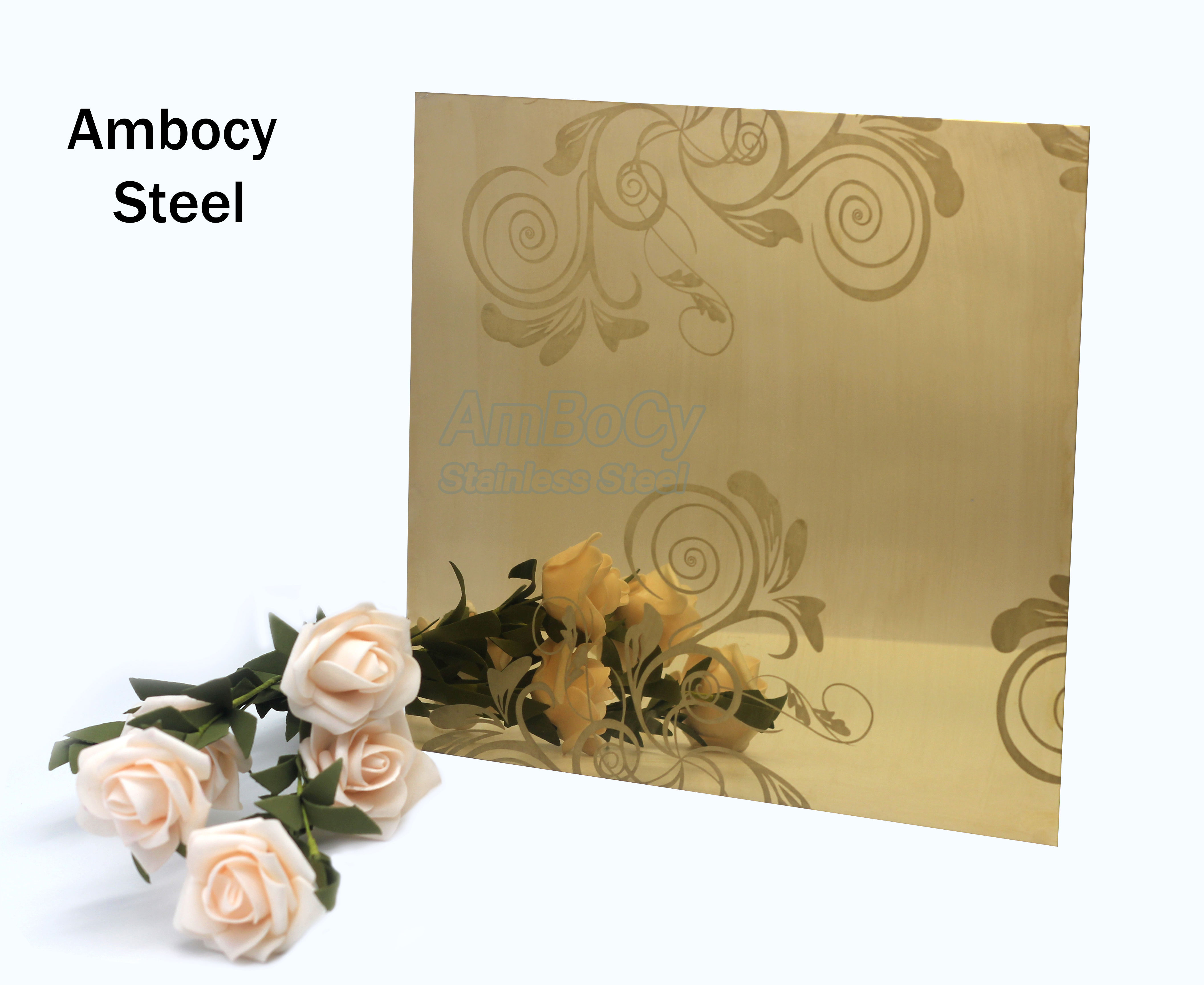 201 304 316l 410 430 Stainless Steel Sheet /Plate Customized Pattern Etched Decorative Stainless Steel sheet Supplier
