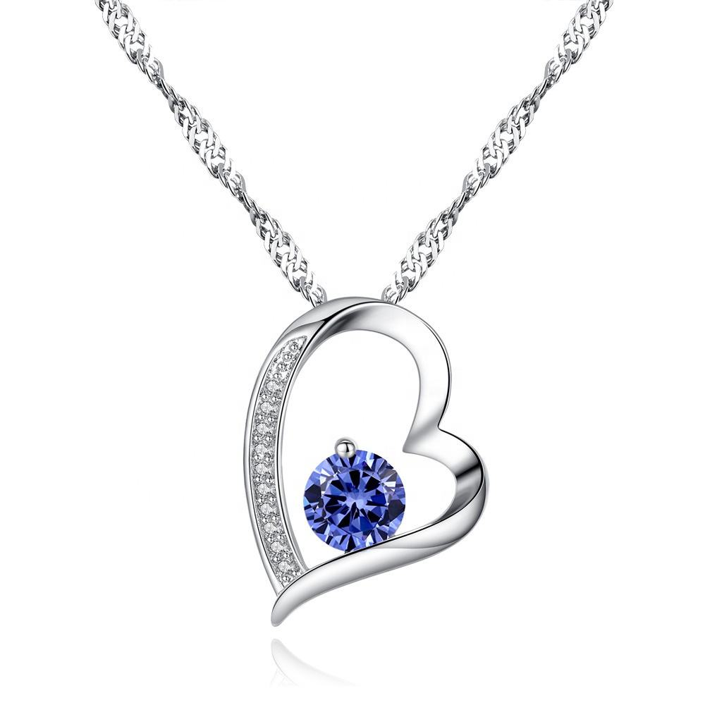 18K White Gold Plated Forever Tanzanite Necklace Zircon Jewelry Lover Heart Pendant Necklace For Women