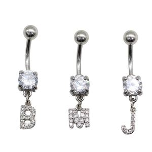 Clear Prong Cubic Zirconia Initial letters belly button rings Dangle body piercings jewelry