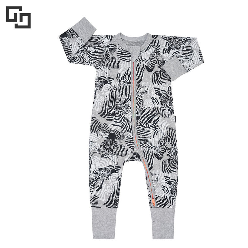 100%Cotton Baby Soft Long Sleeve Printed Zippered Romper With Feet