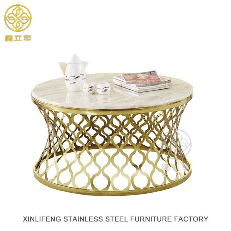 Guangdong Xinlifeng Factory Gold Oval Brass Copper Coffee Table