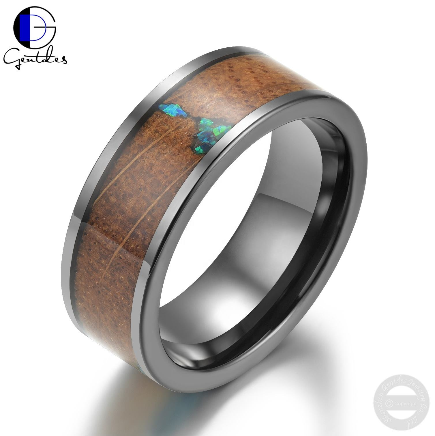 Gentdes Jewelry Custom Tungsten Wedding Band Inlay Whisky Barrel Wood Opal Ring