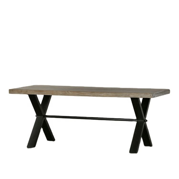 rustic wood concrete antique farm dining table for 6 person