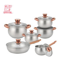 Newest 12pcs stainless steel inox cookware set  cooking pot with gold handle