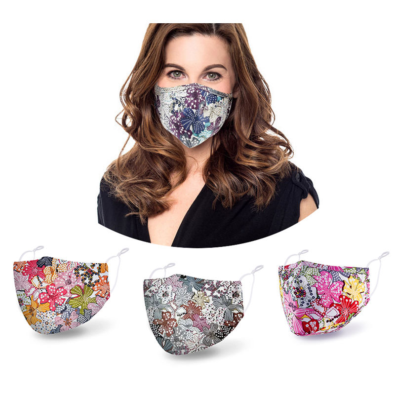 washable reusable cotton fabric custom print mask waterproof face masks