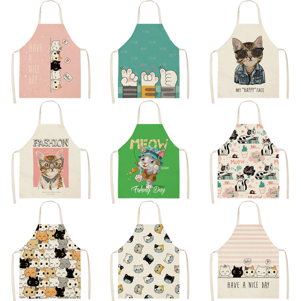 OEM kitchen cotton linen apron custom cute cartoon cats pattern printed cooking apron