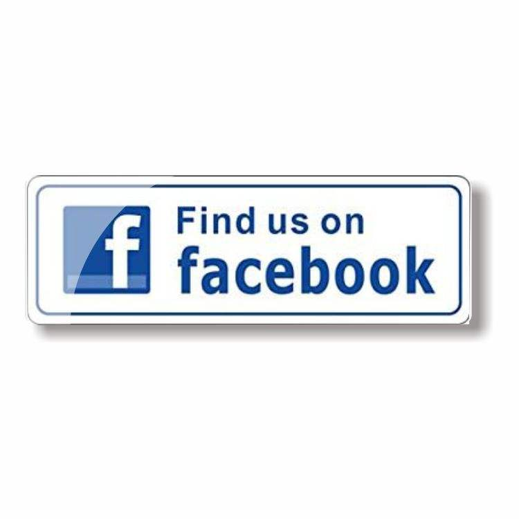 Find Us On Facebook Sign Sticker Decal - For Business Store, Shop, Cafe, Office, Restaurant, Car Vehicle - Back Self Adhesive V