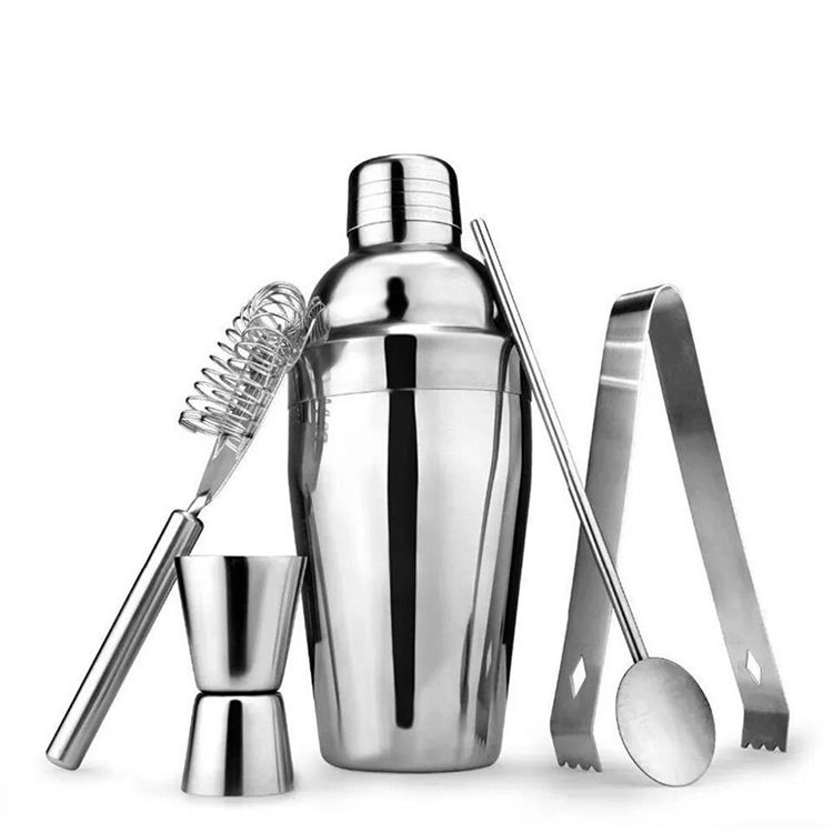 2020 Amazon Top Seller Popular Products Wholesale 350ml /550ml /750ml Stainless Steel Bar Tool Barware Cocktail shaker 5pcs Set