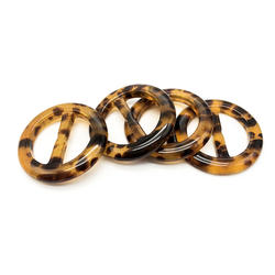 wholesale polished resin material round tortoise shell buckle for belt
