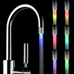 LED Light Water Faucet Tap Heads RGB Glow LED Shower Stream Bathroom Shower faucet 7 Color Changing