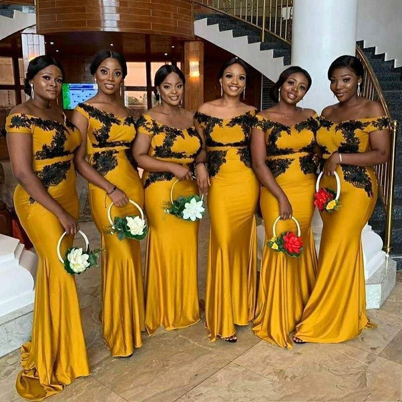 Black Appliques African Maid of Honor Dress Yellow Formal Gowns Off the Shoulder Mermaid Long Bridesmaid Dresses MB510