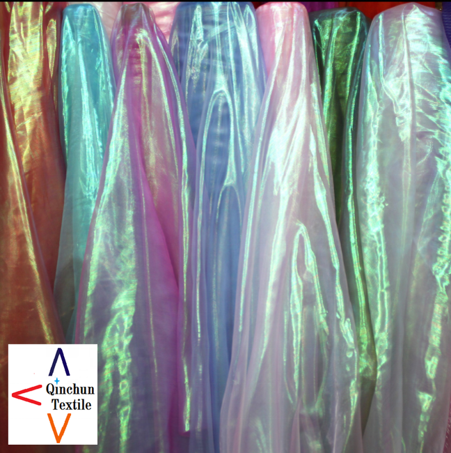 plain iridescent organza rainbow organza fabric for decoration and costume dress